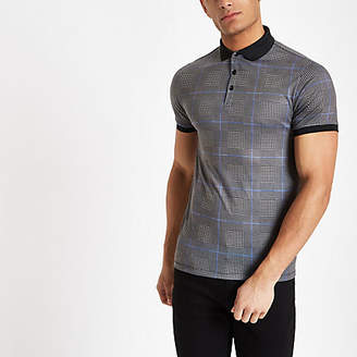 River Island Mens Grey check muscle fit polo shirt