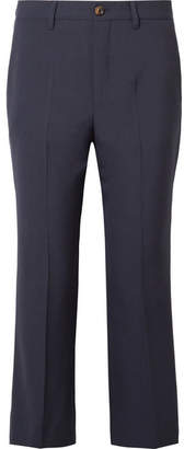Miu Miu Cropped Wool-blend Crepe Flared Pants - Navy