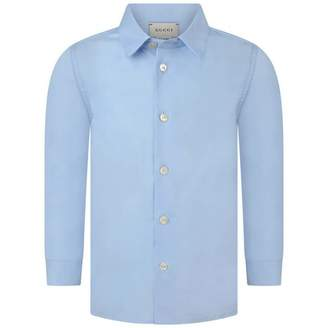 Gucci GUCCIBaby Boys Blue Cotton Shirt
