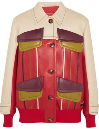 Prada - Paneled Leather Jacket - Red