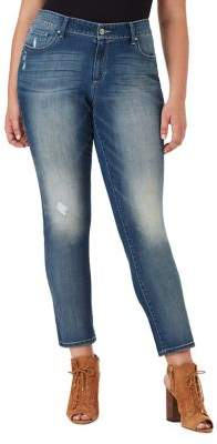Jessica Simpson Plus Arrow Wide-Cuff Straight-Fit Jeans