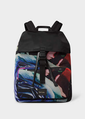Paul Smith Men's 'Rose Collage' Print Mesh Flap Backpack