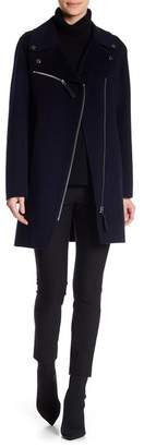 Derek Lam 10 Crosby Lamb Leather Trim Asymmetrical Zip Wool Blend Coat