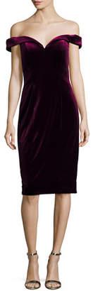 Jovani Off-the-Shoulder Velvet Sheath Cocktail Dress