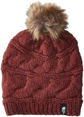 The North Face Triple Cable Fur Pom Beanies