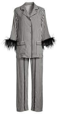Sleeper Striped Feather-Trim Pajama Pants