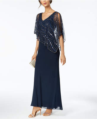 J Kara Sequined-Popover Gown