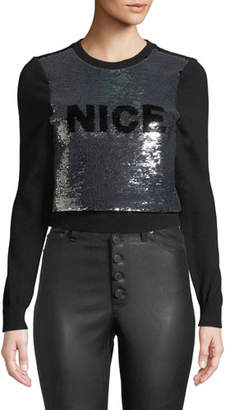 Alice + Olivia Chia Naughty/Nice Flip Sequin Pullover Sweater