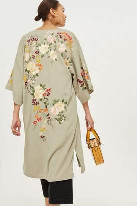 Topshop Mint Embroidered Kimono