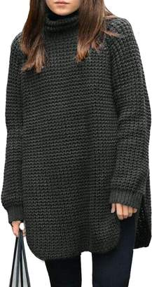Fengtre Women Turtleneck Wool/Cashmere Knit Pullover Long Sleeve Chic Sweater Dress