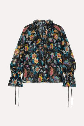 Etro Ruffled Floral-print Silk-chiffon Blouse - Black