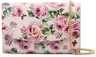 Dolce & Gabbana pink rose print leather wallet on chain