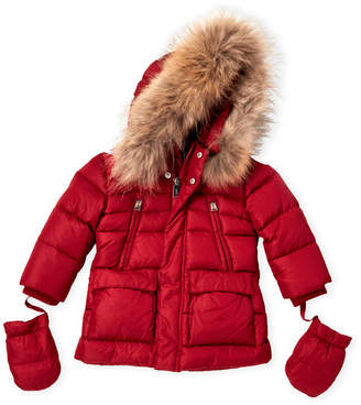 ADD Newborn/Infant Boys) Real Fur-Trimmed Down Jacket
