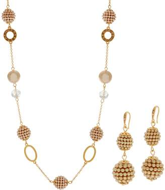 Carolee Museum Mile Simulated Pearl & Crystal Necklace Set