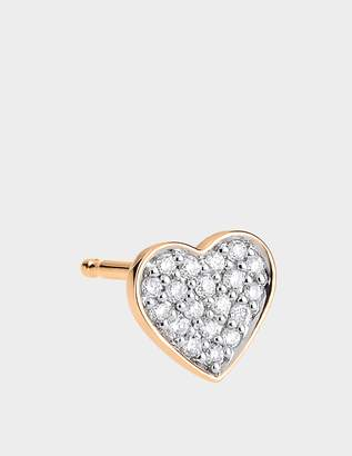 ginette_ny Single Tiny Diamond Heart Stud Earring in 18K Rose Gold and Diamonds