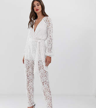 John Zack Tall all over lace jumpsuit in white