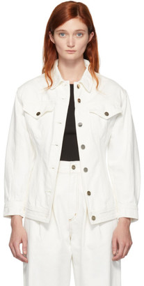 Gold Sign White Denim The Waisted Jacket