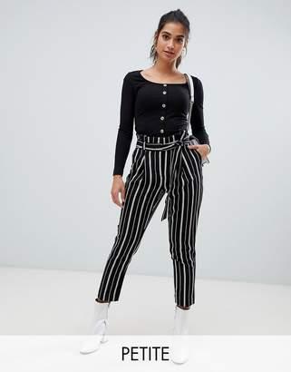 New Look Petite stripe pants in black