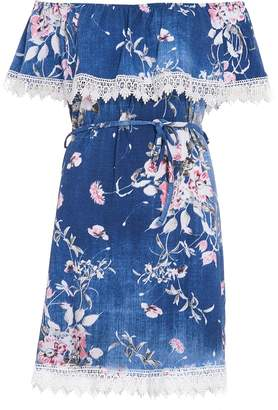 Quiz Blue & Pink Floral Print Bardot Dress