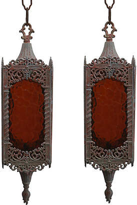 One Kings Lane Vintage Hanging Lanterns - Set of 2 - Fleur de Lex Antiques