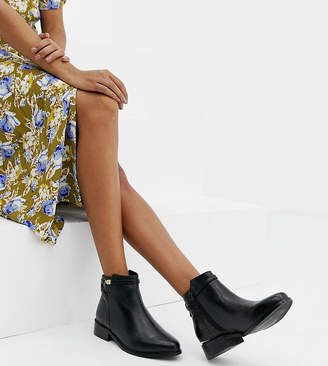 Dune Wide Fit Peppey Black Leather Croc Mix Flat Ankle Boots