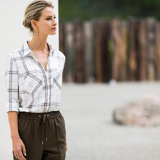 Anne Weyburn Draping Long-Sleeved Checked Blouse