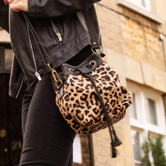 MAHI Leather Mini Bucket Bag In 'Pony Hair' Leather Leopard Print