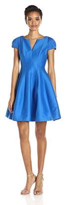 Halston Women's Short Sleeve Notch Neck Dress with Tulip Skirt