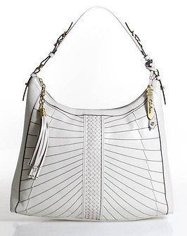 Cole Haan Cole Haan White Leather Gold Accent Large Shoulder Handbag