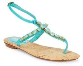Oscar de la Renta Louise Embellished Thong Sandals