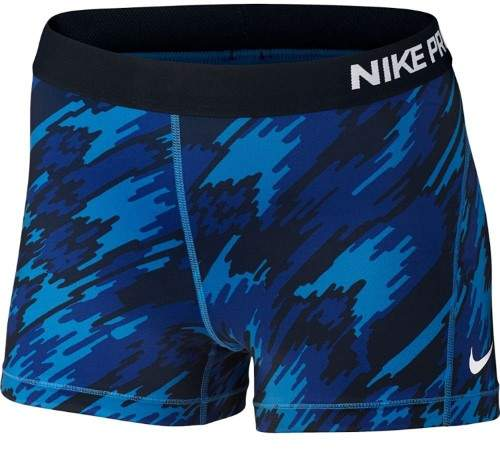 Nike Women's 3' Pro Cool Overdrive Training Shorts-Camo Blue-XL
