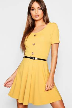 boohoo Short Sleeve Button Front Belted Skater Dress