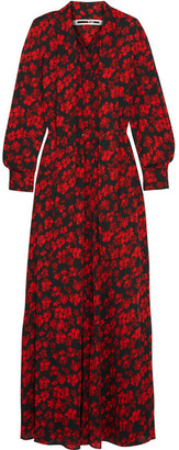 McQ Alexander McQueen - Pussy-bow Printed Silk Crepe De Chine Maxi Dress - Red $1,135 thestylecure.com