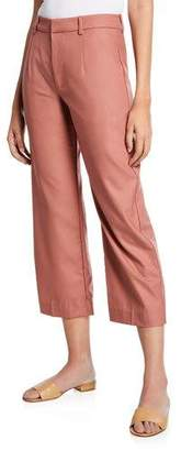Co Flat Front Cropped Straight-Leg Pants