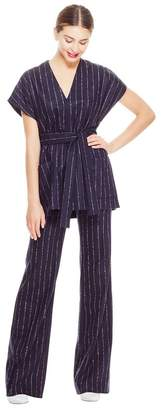 Lela Rose Chalk Stripe Wool V-Neck Belted Top