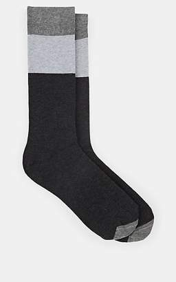 Barneys New York MEN'S COLORBLOCKED COTTON-BLEND MID-CALF SOCKS - GRAY
