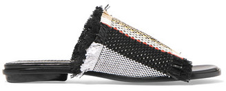Proenza Schouler - Woven Leather Slides - Black $595 thestylecure.com