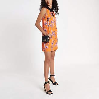 River Island Orange floral bow collar dress