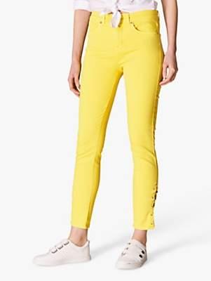 Karen Millen Lace Up Skinny Jeans, Yellow