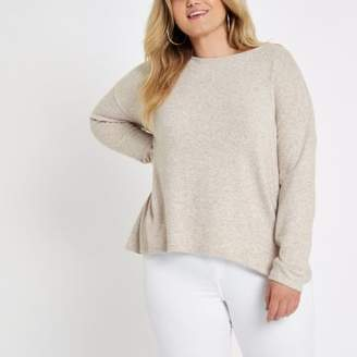 River Island Womens Plus beige twist back jumper