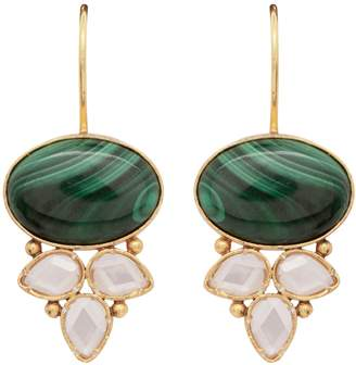 Carousel Jewels - Malachite & Crystal Drop Earrings