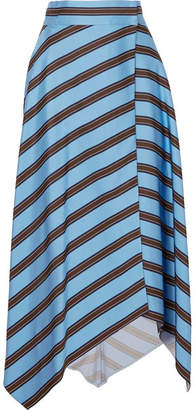 Fendi Striped Satin Wrap Midi Skirt - Blue