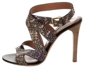 Derek Lam Snakeskin Ankle Strap Sandals Grey Snakeskin Ankle Strap Sandals