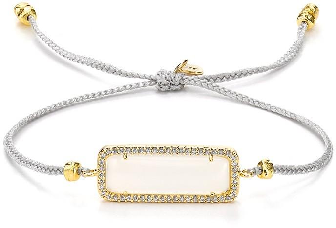 Tai Rectangle Bracelet on Gray Cord
