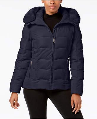 Calvin Klein Petite Faux-Fur-Trim Hooded Puffer Coat