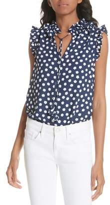 Kate Spade cloud dot tie front sleeveless blouse