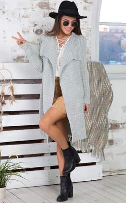 Showpo Cosy Cocoon Knit Cardigan in Grey Marle