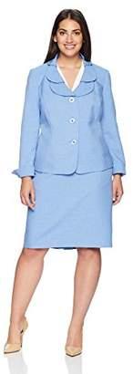 Le Suit Women's Size Plus Glazed Melange 1 BTN Shawl Collar Pant