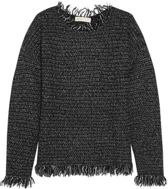 MICHAEL Michael Kors - Fringed Knitted Sweater - Gray $165 thestylecure.com