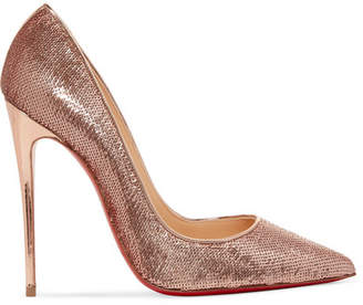 Christian Louboutin So Kate 120 Sequined Canvas Pumps - Gold